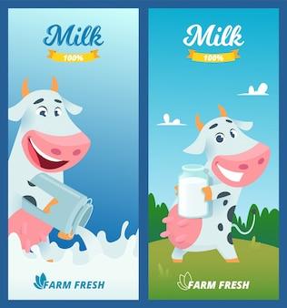 Melk banners. beeldverhaal grappige koe reclameillustratie met de beelden van het landbouwbedrijfconcept