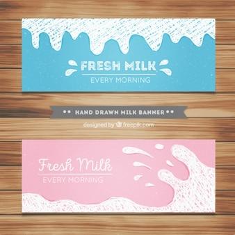 Melk banners in hand getekende stijl