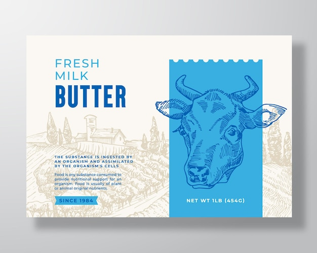 Melk boter zuivel voedsel label sjabloon abstract vector verpakking ontwerp lay-out moderne typografie bann...