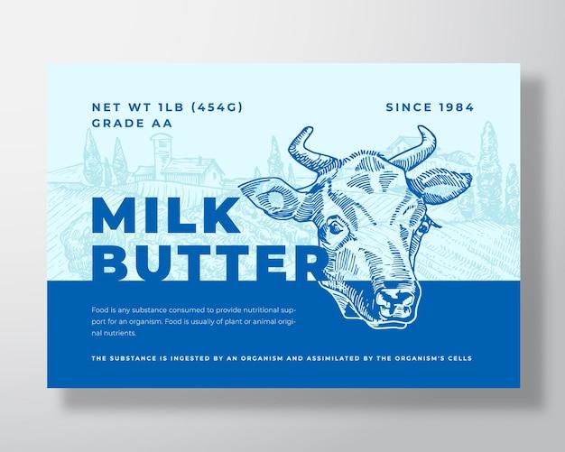 Melk boter zuivel voedsel labelsjabloon