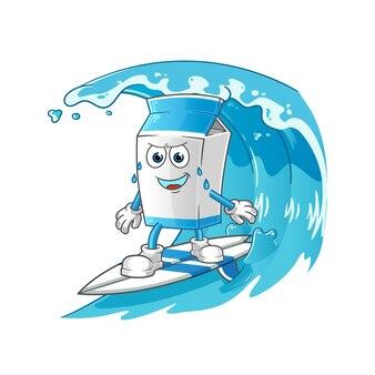 Melk die op het golfkarakter surft. cartoon mascotte vector
