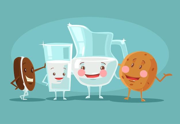 Melk en koekjes beste vrienden. platte cartoon afbeelding