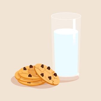 Melk en koekjes decoratieve set