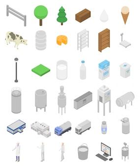 Melk fabriek iconen set, isometrische stijl