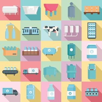 Melk fabriek iconen set, vlakke stijl