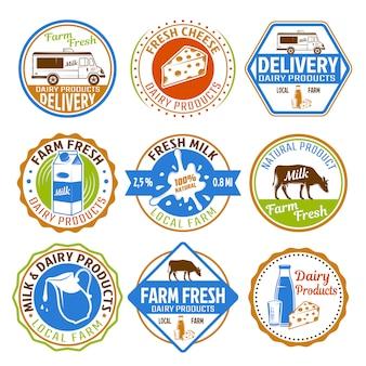 Melk gekleurde emblemen