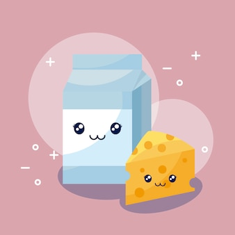 Melk in doos en kaaskawaiikarakter