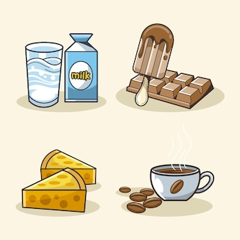 Melk kaas chocolade koffie ontwerp vector