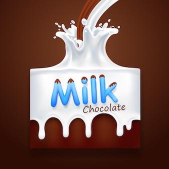 Melk met chocolade kunstbanner. vector illustratie