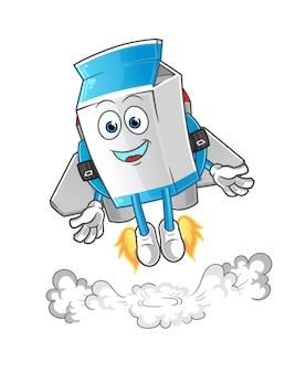 Melk met jetpack cartoon mascotte