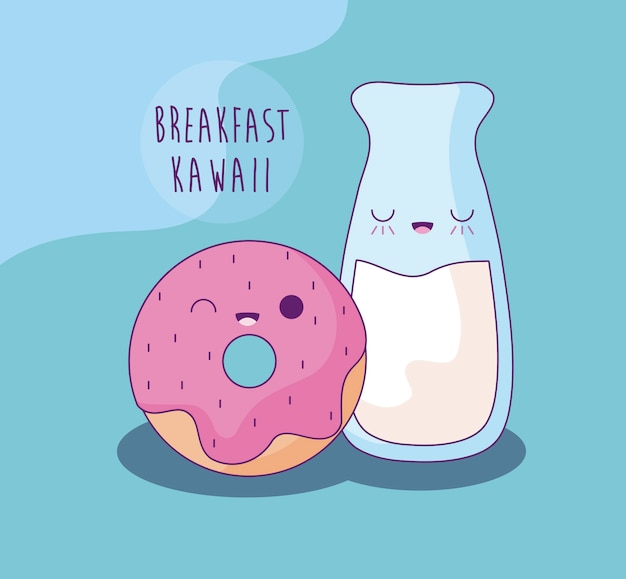 Melk met zoete doughnut voor de stijl van ontbijtkawaii