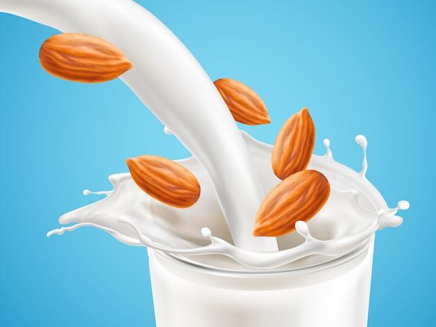 Melk plashing effect met vloeistof naar beneden gieten in glazen beker