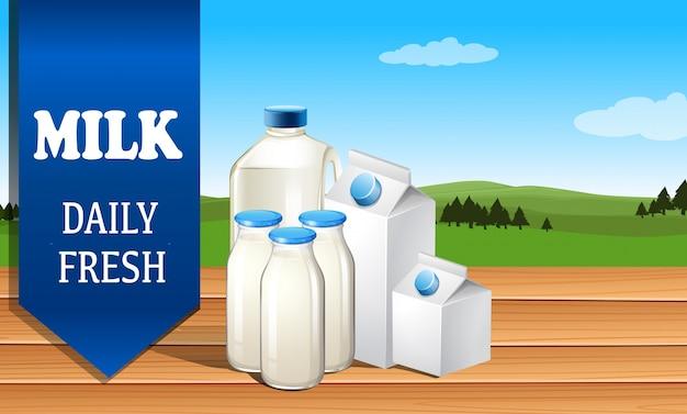 Melk reclame met tekst illustratie