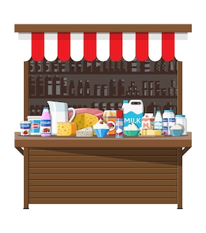 Melk straat markt winkel kraam. boerenwinkel of toonbank. zuivelproducten set collectie van voedsel. melk kaas yoghurt boter zure room kwark boerderijproducten. vector illustratie vlakke stijl