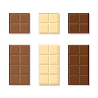 Melk, witte en donkere chocoladereep plat