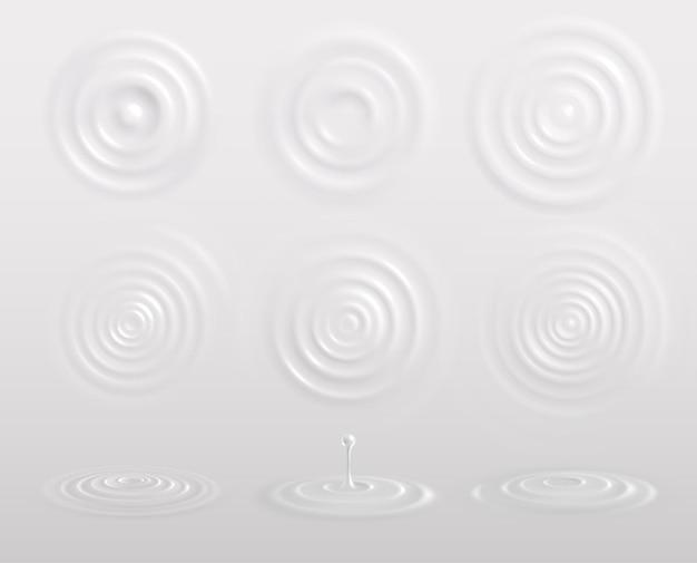 Melk yoghurt of room cirkels witte realistische compositie met druppels golven bovenaanzicht en zijwaarts