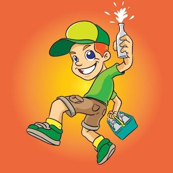 Melkachtig jongensbeeldverhaal in groene eenvormig