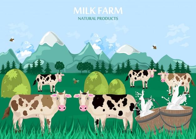 Melkboerderij met koeien op groen veld