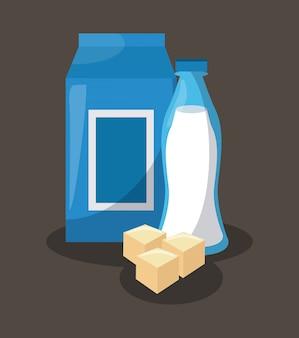 Melkdoos met fles en kaas