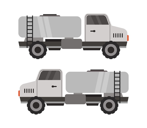 Melktank op witte vrachtwagen op wit