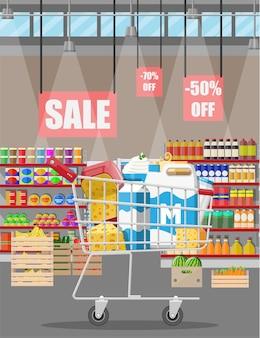 Melkteller in supermarkt. boerenwinkel of kruidenierswinkel. zuivelproducten set collectie van voedsel. melk kaas yoghurt boter zure room kwark boerderijproducten. vector illustratie vlakke stijl