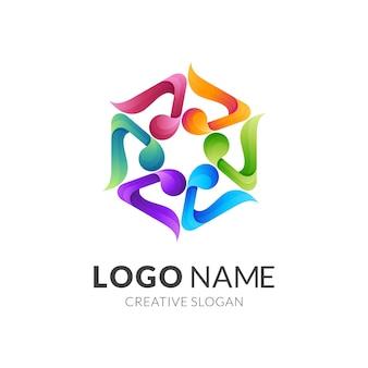 Melodie-logo en zeshoekige logosjabloon, rond logo met kleurrijk
