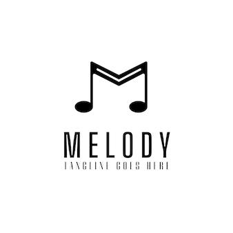Melodie logo sjabloon met instrument toon, muziek icoon voor entertainment vectorillustratie