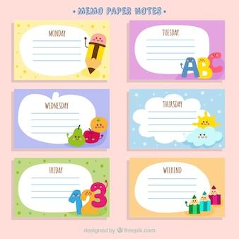 Memo papier stelt met tekeningen