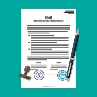 Memorandum of understanding document.