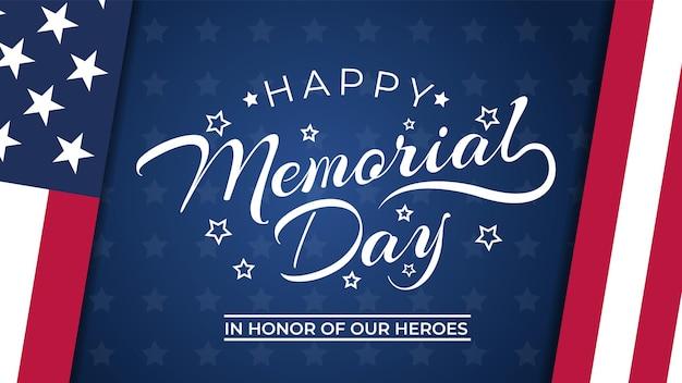 Memorial day achtergrond vectorillustratie met belettering
