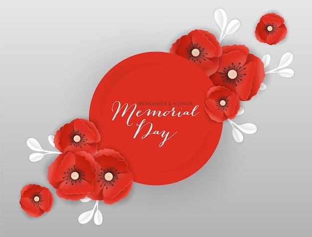 Memorial day banner met rood papier gesneden poppy bloemen. remembrance day poster met symbool van stuk papavers voor flyer, brochure, leaflet. vector illustratie