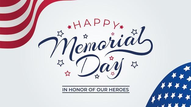 Memorial day banner vectorillustratie, usa vlag zwaaien met sterren op lichte achtergrond.