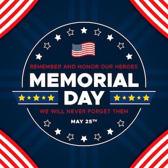 Memorial day en de vlag van de verenigde staten van amerika