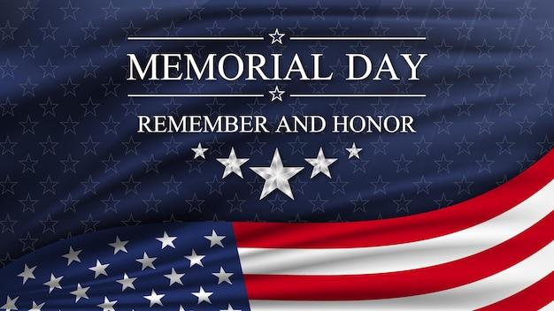 Memorial day met nationale vlag van verenigde staten. nationale feestdag van de vs. Premium Vector