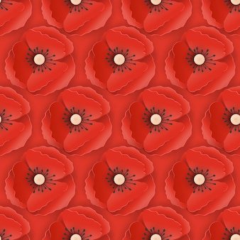Memorial day naadloze patroon met papier uitgesneden rode papaver bloemen. papavers achtergrond symbool van piece remembrance anzac day. vector illustratie