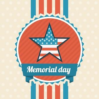 Memorial day-ontwerp over beige vectorillustratie als achtergrond