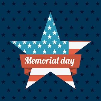 Memorial day-ontwerp over blauwe vectorillustratie als achtergrond