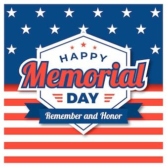 Memorial day platte ontwerp achtergrond met usa vlag