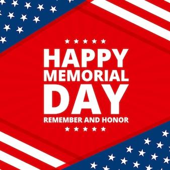 Memorial day platte ontwerp sterren en strepen achtergrond