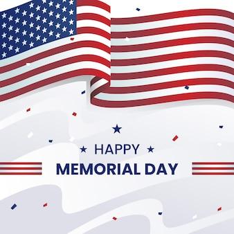 Memorial day realistische achtergrond met usa vlag