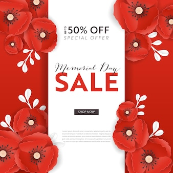 Memorial day sale banner met rood papier gesneden poppy bloemen. remembrance day kortingsposter met symbool van stuk klaprozen voor promo flyer, origami brochure, folder. vector illustratie