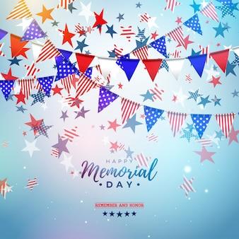 Memorial day van de vs ontwerpsjabloon met amerikaanse kleur partij vlag en vallende sterren op glanzende blauwe achtergrond. nationale patriottische viering illustratie voor banner of wenskaart