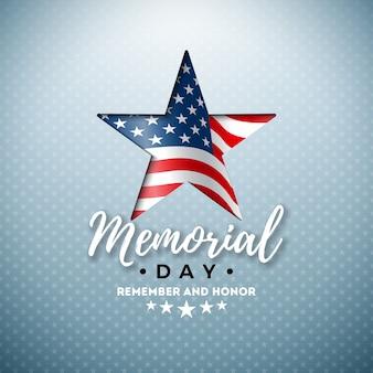 Memorial day van de vs ontwerpsjabloon met amerikaanse vlag in snijster symbool