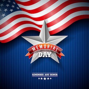 Memorial day van de vs ontwerpsjabloon met amerikaanse vlag op vallende kleurrijke sterren achtergrond.