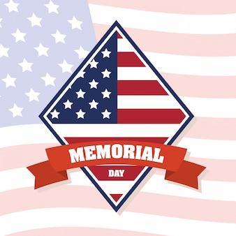 Memorial day-viering met de vlag van de vs in diamantkader