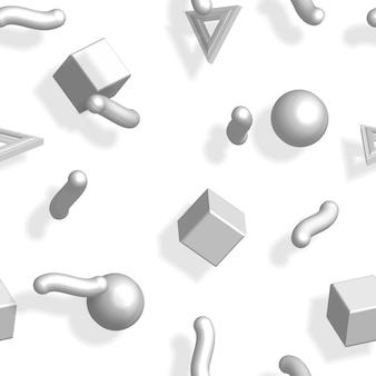 Memphis 80s patroon met grijze geometrische vormen