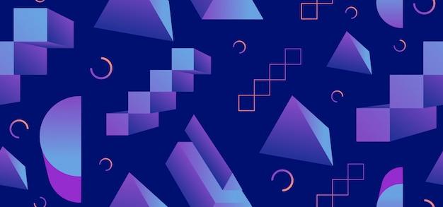 Memphis 90s naadloos patroon met 3d geometrische elementen