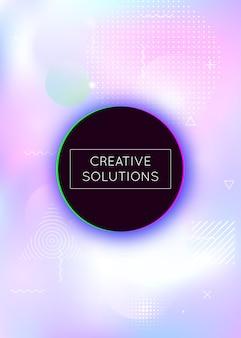 Memphis achtergrond met kleurovergang met vloeibare vormen. dynamisch holografisch ontwerp
