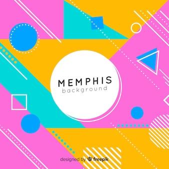 Memphis achtergrond met verschillende kleurrijke vormen