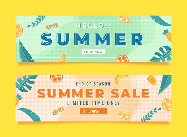 Memphis aquarel zomer verkoop banner set sjabloon met blad citroen en boei